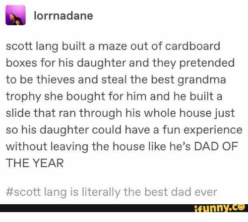 maze: lorrnadane  scott lang built a maze out of cardboard  boxes for his daughter and they pretended  to be thieves and steal the best grandma  trophy she bought for him and he built a  slide that ran through his whole house just  so his daughter could have a fun experience  without leaving the house like he's DAD OF  THE YEAR  #scott lang is literally the best dad ever  ifunny.co