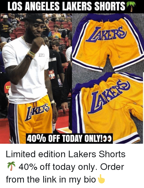 Los Angeles Lakers: LOS ANGELES LAKERS SHORTS  -40% OFF TODAY ONLY! Limited edition Lakers Shorts 🌴 40% off today only. Order from the link in my bio👆