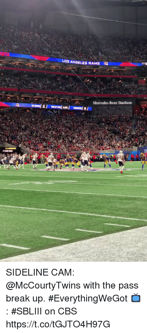 Los Angeles Rams: LOS ANGELES RAMS  Mercedes-Benz Stadium SIDELINE CAM: @McCourtyTwins with the pass break up. #EverythingWeGot  📺: #SBLIII on CBS https://t.co/tGJTO4H97G