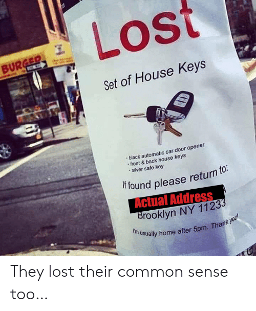 Brooklyn: Lost  BURGER  C  Set of House Keys  black automatic car door opener  front&back house keys  silver safe key  if found please return to:  Actual Address  Brooklyn NY 11233  f'm usually home after 5pm. Thank you They lost their common sense too…