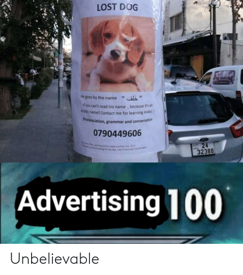 """Arabic: LOST DOG  He goes by the name""""  f you can't read his name , because it's an  Arabic name! Contact me for learning Arabic:  ronunciation, grammar and conversation  Pr  0790449606  32388  Advertising 100 Unbelievable"""