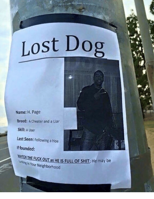 Page, Pages, and Dog: Lost Dog  Name: H. Page  Breed: Acheater and a Liar  Skill: A User  Last Seen  Following a Hoe  founded:  ATCHTHE FUCK O  as HE IS FULL OF SHIT He may be  Your Neighborhood