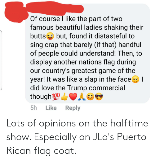 puerto rican: Lots of opinions on the halftime show. Especially on JLo's Puerto Rican flag coat.