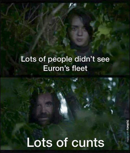 cunts: Lots of people didn't see  Euron's fleet  Lots of cunts