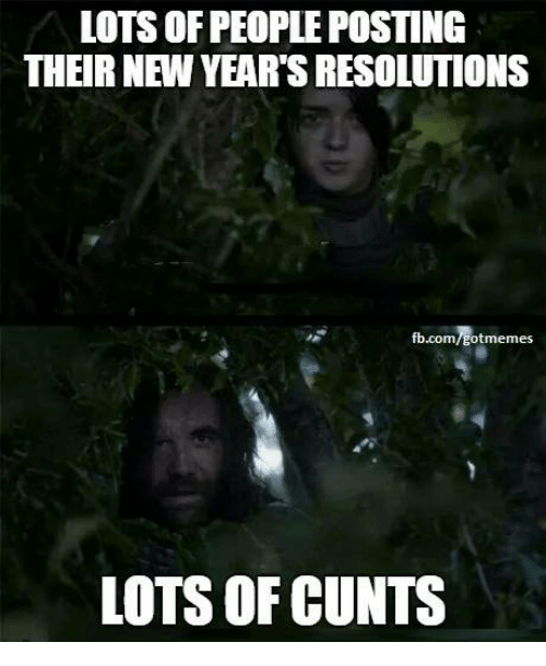 cunts: LOTS OF PEOPLE POSTING  THEIR NEW YEAR'S RESOLUTIONS  fb.com/gotmemes  LOTS OF CUNTS