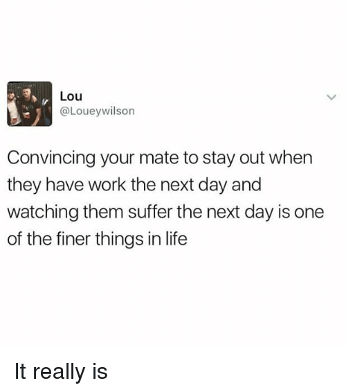 Life, Memes, and Work: Lou  @Loueywilson  Convincing your mate to stay out when  they have work the next day and  watching them suffer the next day is one  of the finer things in life It really is