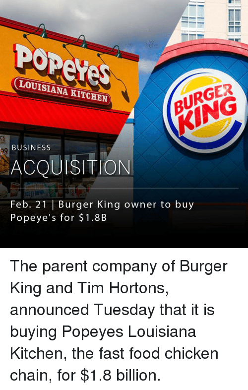 Burger King, Fast Food, and Memes: LOUISIANA KITCHEN  BURGER  BUSINESS  ACQUISITION  Feb. 21 Burger King owner to buy  Popeye's for $1.8B The parent company of Burger King and Tim Hortons, announced Tuesday that it is buying Popeyes Louisiana Kitchen, the fast food chicken chain, for $1.8 billion.