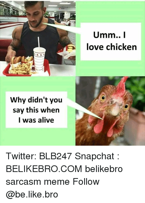 Alive, Be Like, and Love: love chicken  Why didn't you  say this when  l was alive Twitter: BLB247 Snapchat : BELIKEBRO.COM belikebro sarcasm meme Follow @be.like.bro