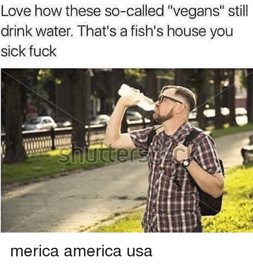 """America, Love, and Memes: Love how these so-called """"vegans"""" still  drink water. That's a fish's house you  sick fuck merica america usa"""
