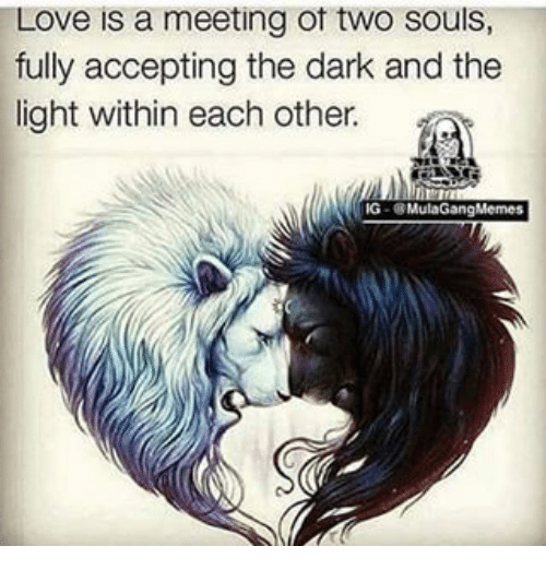 Love Each Other When Two Souls: Love Is A Meeting Ot Two Souls Fully Accepting The Dark