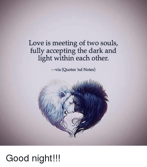 Love Each Other When Two Souls: Love Is Meeting Of Two Souls Fully Accepting The Dark And