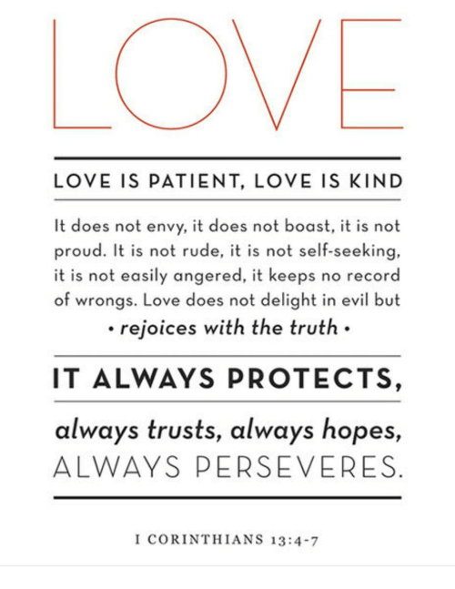 Memes, Perseverance, and 🤖: LOVE IS PATIENT, LOVE IS KIND  It does not envy, it does not boast, it is not  proud. It is not rude, it is not self-seeking  it is not easily angered, it keeps no record  of wrongs. Love does not delight in evil but  rejoices with the truth.  IT ALWAYS PROTECTS,  always trusts, always hopes,  ALWAYS PERSEVERES  I CORINTHIANS 13:4-7