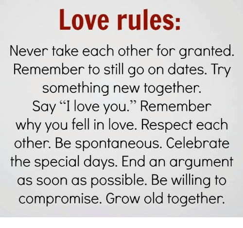 rules love dating