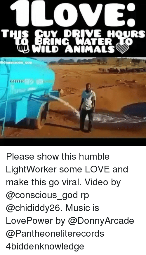 Memes, Music, and 🤖: LOVE  THIS GUY DRIVE HOURS  ATER  ILD ANIMALS Please show this humble LightWorker some LOVE and make this go viral. Video by @conscious_god rp @chididdy26. Music is LovePower by @DonnyArcade @Pantheoneliterecords 4biddenknowledge