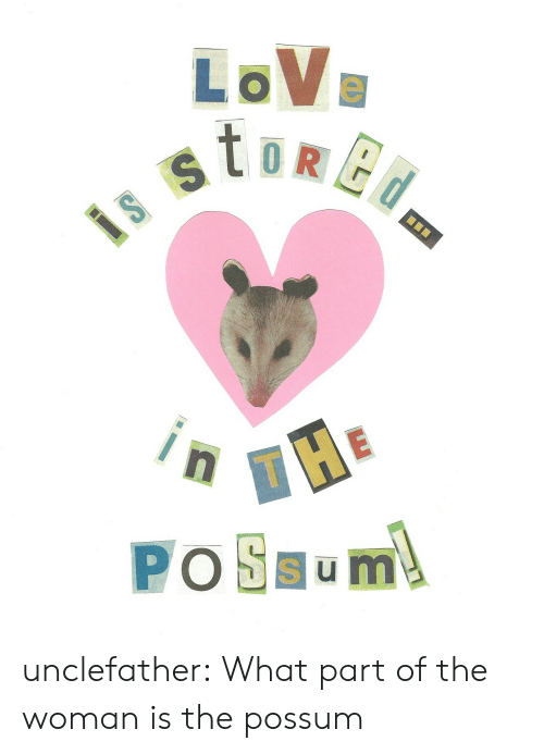 Possum: LoVe unclefather: What part of the woman is the possum