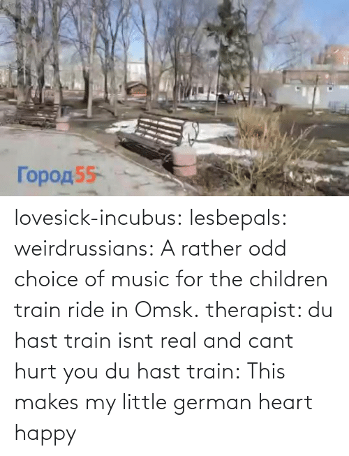 Train: lovesick-incubus:  lesbepals:   weirdrussians:  A rather odd choice of music for the children train ride in Omsk.    therapist: du hast train isnt real and cant hurt you du hast train:    This makes my little german heart happy