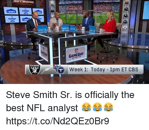 Steve Smith: LOWES  GAMEDAY  Week 1: Today 1pm ET CBS Steve Smith Sr. is officially the best NFL analyst 😂😂😂 https://t.co/Nd2QEz0Br9