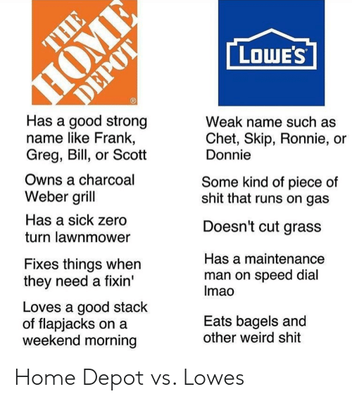 Lawnmower: LOWE'S  Has a good strong  name like Frank,  Greg, Bill, or Scott  Weak name such as  Chet, Skip, Ronnie, or  Donnie  Owns a charcoal  Weber grill  Has a sick zero  turn lawnmower  Some kind of piece of  shit that runs on gas  Doesn't cut grass  Fixes things when  they need a fixin'  Has a maintenance  man on speed dial  Imao  Loves a good stack  of flapjacks on a  weekend morning  Eats bagels and  other weird shit Home Depot vs. Lowes
