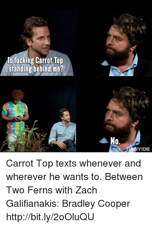 Bradley Cooper: ls fucking Carrot Top  standing behind me?  No.  Y DIE Carrot Top texts whenever and wherever he wants to.  Between Two Ferns with Zach Galifianakis: Bradley Cooper http://bit.ly/2oOluQU