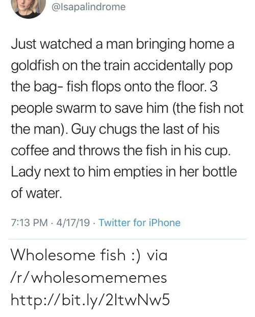 3 People: @lsapalindrome  Just watched a man bringing home a  goldfish on the train accidentally pop  the bag- fish flops onto the floor. 3  people swarm to save him (the fish not  the man). Guy chugs the last of his  coffee and throws the fish in his cup.  Lady next to him empties in her bottle  of water.  7:13 PM 4/17/19 Twitter for iPhone Wholesome fish :) via /r/wholesomememes http://bit.ly/2ItwNw5