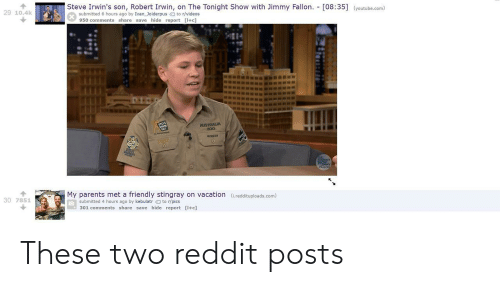 The Tonight Show with Jimmy Fallon: lSteve Irwin's son, Robert Irwin, on The Tonight Show with Jimmy Fallon. [08:35]  (youtube.com)  29 10.4k  submitted 6 hours ago by Ivan _Joiderpusto r/videos  950 comments share save hide report [I+c  200  ROBERT  My parents met a friendly stingray on vacation (i.reddituploads.com)  30 7851  submitted 4 hours ago by kebulatr to r/pics  301 comments share save hide report [I+c] These two reddit posts