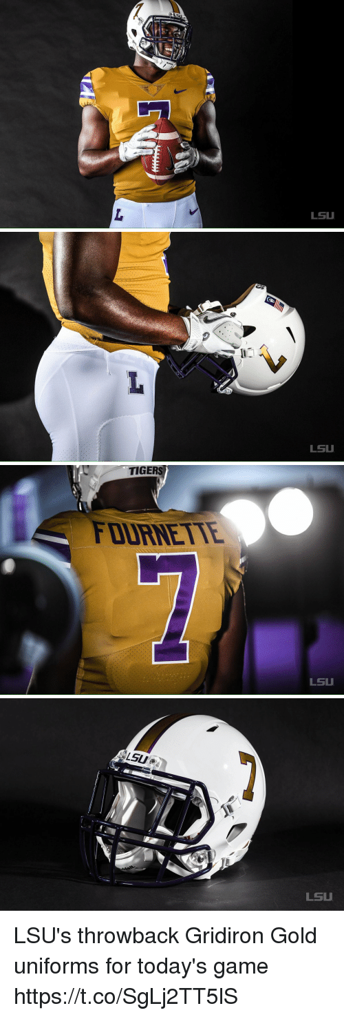 lsu tigers: LSU   LSU   TIGERS  FOURNETTE  LSU   LSU  LSU LSU's throwback Gridiron Gold uniforms for today's game https://t.co/SgLj2TT5lS