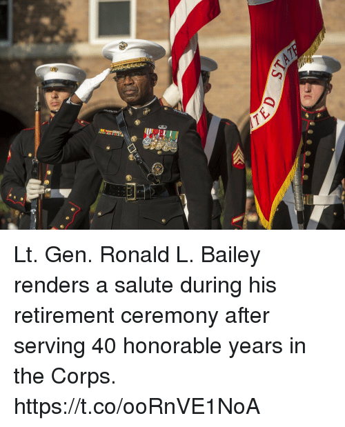 Memes, 🤖, and Bailey: Lt. Gen. Ronald L. Bailey renders a salute during his retirement ceremony after serving 40 honorable years in the Corps. https://t.co/ooRnVE1NoA