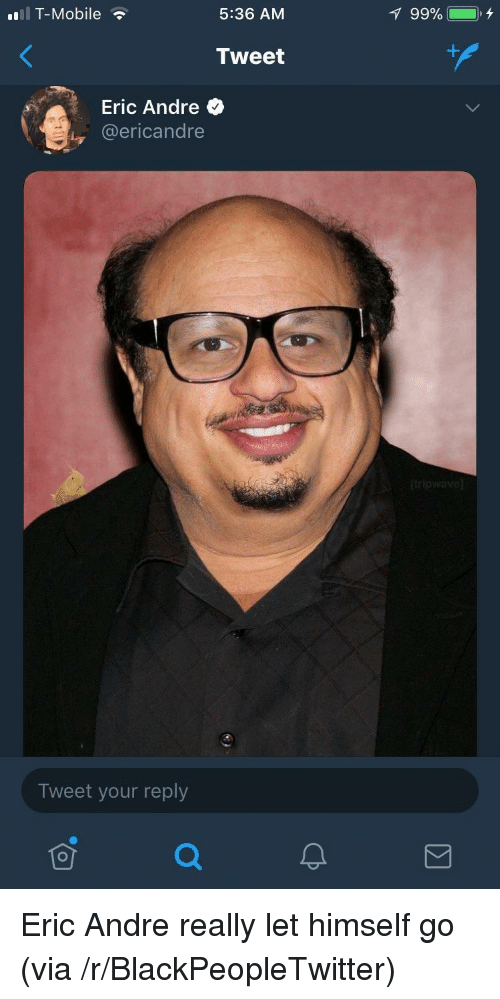Eric Andre: lT-Mobile  5:36 AM  Tweet  Eric Andre  @ericandre  Tweet your reply <p>Eric Andre really let himself go (via /r/BlackPeopleTwitter)</p>