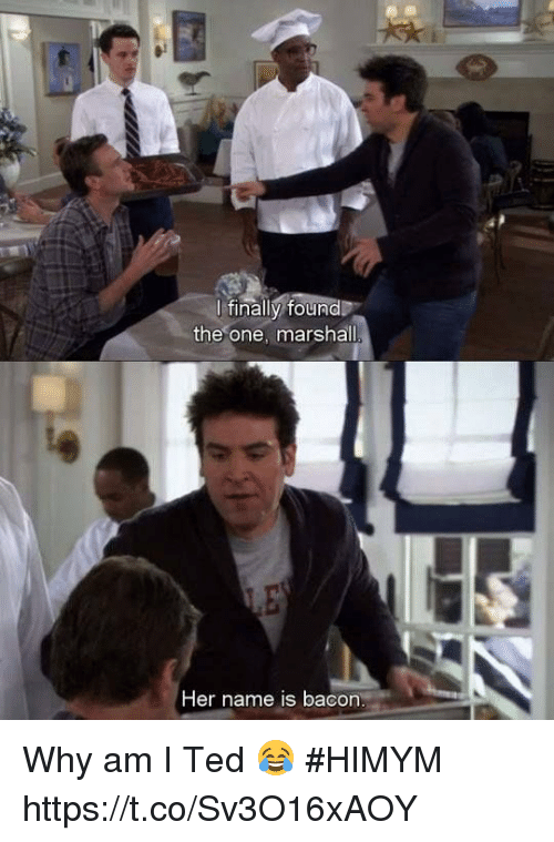 Memes, Ted, and Bacon: ltinallv found  the one, marshall  Her name is bacon Why am I Ted 😂 #HIMYM https://t.co/Sv3O16xAOY