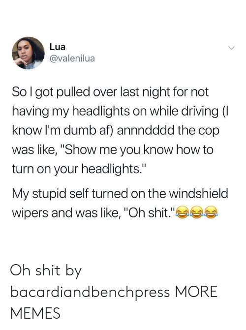 """turned on: Lua  @valenilua  So l got pulled over last night for not  having my headlights on while driving (  know I'm dumb af) annndddd the cop  was like, """"Show me you know how to  turn on your headlights.""""  My stupid self turned on the windshield  wipers and was like, """"Oh shit."""" Oh shit by bacardiandbenchpress MORE MEMES"""
