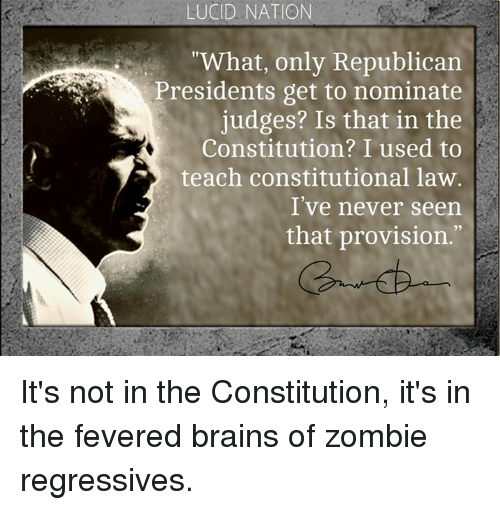 """provisions: LUCID NATION  """"What, only Republican  Presidents get to nominate  judges? Is that in the  Constitution? I used to  teach constitutional law.  I've never seen  that provision. It's not in the Constitution, it's in the fevered brains of zombie regressives."""