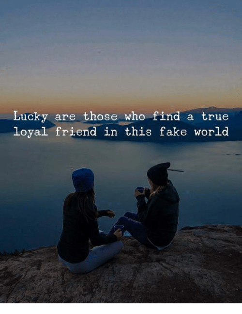 Fake, True, and World: Lucky are those who find a true  loyal friend in this fake world