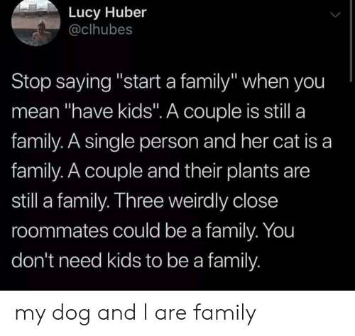 "roommates: Lucy Huber  @clhubes  Stop saying ""start a family"" when you  mean ""have kids"". A couple is still a  family. A single person and her cat is a  family. A couple and their plants are  still a family. Three weirdly close  roommates could be a family. You  don't need kids to be a family my dog and I are family"