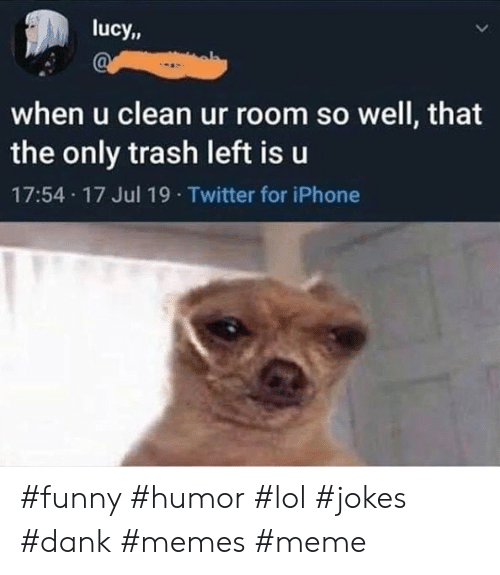 Lucy: lucy,  when u clean ur room so well, that  the only trash left is u  17:54 17 Jul 19 Twitter for iPhone #funny #humor #lol #jokes #dank #memes #meme