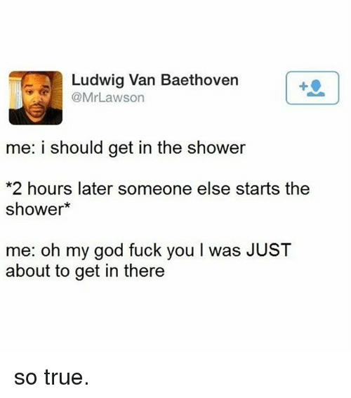 Fuck You, Memes, and Oh My God: Ludwig Van Baethoven  Lawson  @Mr me: i should get in the shower  *2 hours later someone else starts the  shower  me: oh my god fuck you l was JUST  about to get in there so true.