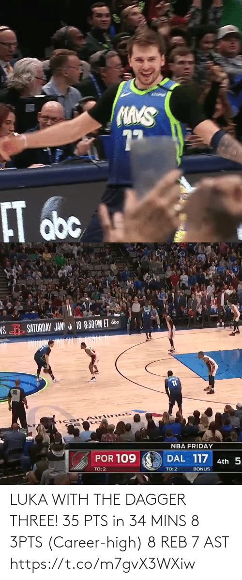 Mins: LUKA WITH THE DAGGER THREE!   35 PTS in 34 MINS 8 3PTS (Career-high) 8 REB 7 AST  https://t.co/m7gvX3WXiw
