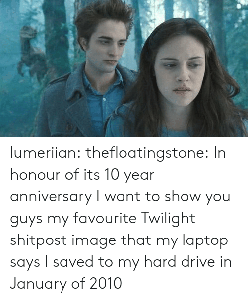 Twilight: lumeriian: thefloatingstone:  In honour of its 10 year anniversary I want to show you guys my favourite Twilight shitpost image that my laptop says I saved to my hard drive in January of 2010