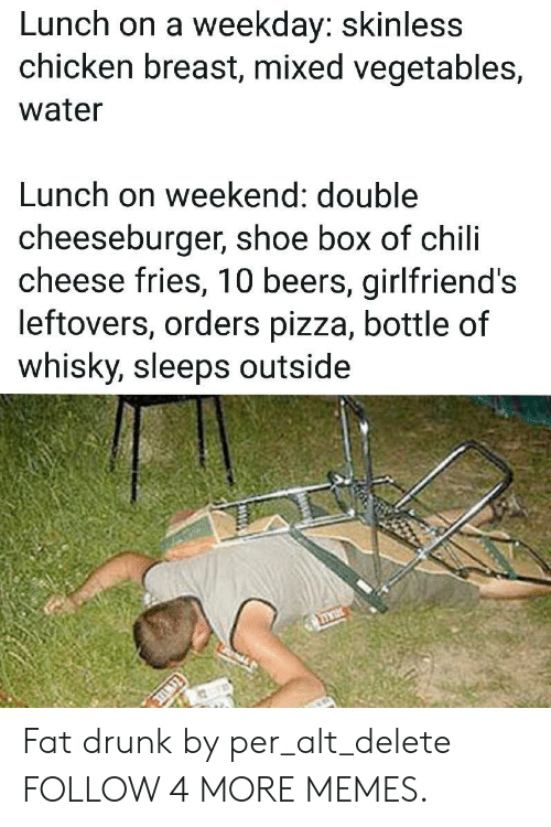 weekday: Lunch on a weekday: skinless  chicken breast, mixed vegetables,  water  Lunch on weekend: double  cheeseburger, shoe box of chili  cheese fries, 10 beers, girlfriend's  leftovers, orders pizza, bottle of  whisky, sleeps outside Fat drunk by per_alt_delete FOLLOW 4 MORE MEMES.