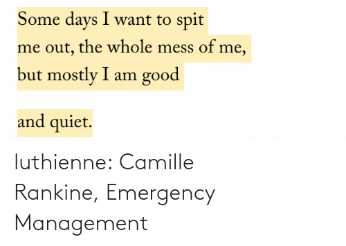 emergency: luthienne:  Camille Rankine, Emergency Management