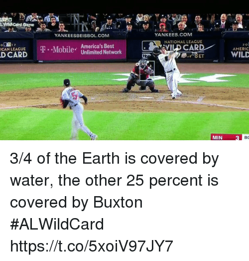 Memes, New York Yankees, and Best: Lwnidcard  Game  YANKEESBEISBOL.COM  YANKEES.COM  NATIONAL LEAGUE  . America's Best  CAN LEAGUE ..MobileU  D CARD  AMERIC  Unlimited NetworkVILD CARD  WILD  MIN3 3/4 of the Earth is covered by water, the other 25 percent is covered by Buxton #ALWildCard https://t.co/5xoiV97JY7