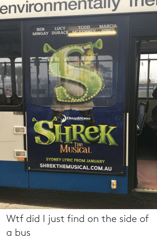 eme: ly  environme  MARCIA  TODD  LUCY  BEN  HINES  MINGAY DURACK MCKENNEY  EME  Jarringah Mall  DREAMWORKS  SHREK  THEATRICALS  THE  MUSICAL  SYDNEY LYRIC FROM JANUARY  SHREKTHEMUSICAL.COM.AU Wtf did I just find on the side of a bus