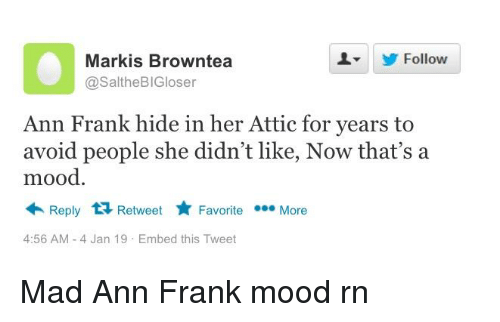 ann frank: LY Follow  Markis Browntea  @SaltheBIGloser  Ann Frank hide in her Attic for years to  avoid people she didn't like, Now that's a  mood  Reply 1 Retweet Favorite More  4:56 AM-4 Jan 19 Embed this Tweet
