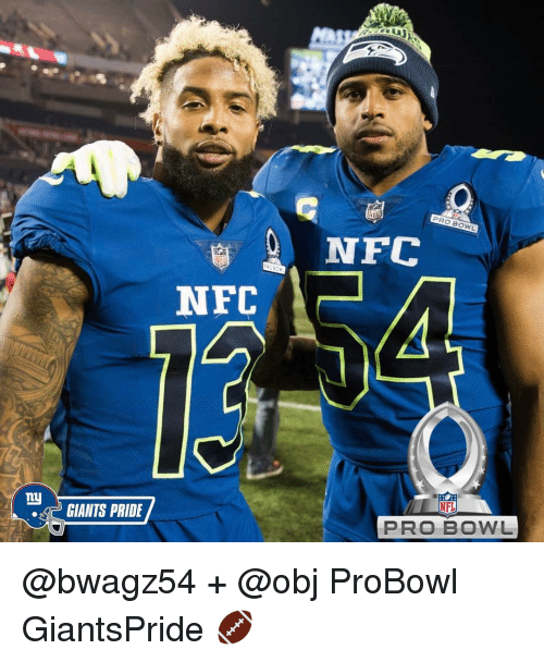 Memes, NFL Pro Bowl, and 🤖: Ly  GIANTS PRIDE  NFC  PRO BOWL  NFC  NFL  PRO BOWL @bwagz54 + @obj ProBowl GiantsPride 🏈