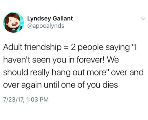 "Adulter: Lyndsey Gallant  @apocalynds  Adult friendship-2 people saying""  haven't seen you in forever! We  should really hang out more"" over and  over again until one of you dies  7/23/17, 1:03 PM"