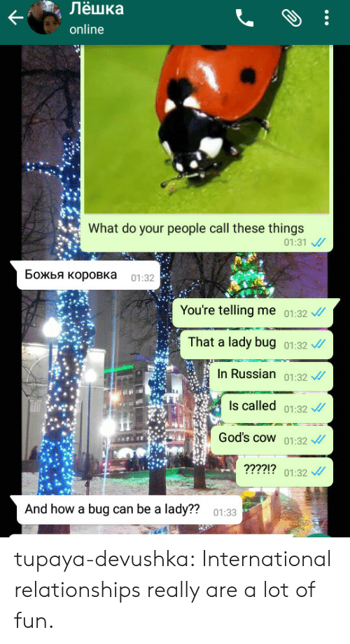 Russian: m  , Лёшка  online  What do your people call these things  01:31 、//  Божья коровка 01:32  You're telling me 01:32  That a lady bug 01:32  In Russian 01:32  Is called 01:32  God's cowW 01:32  ?221  01:32  And how a bug can be a lady??  01:33 tupaya-devushka:  International relationships really are a lot of fun.