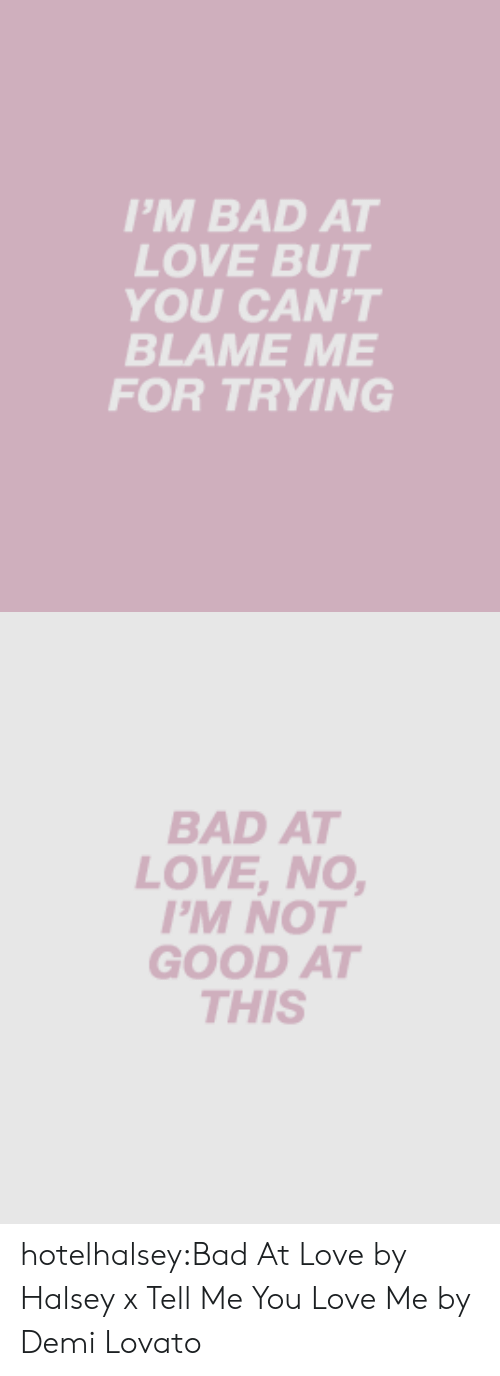 Blame Me: 'M BAD AT  LOVE BUT  YOU CAN'T  BLAME ME  FOR TRYING   BAD AT  LOVE, NO  'M NOT  GOOD AT  THIS hotelhalsey:Bad At Love by Halsey x Tell Me You Love Me by Demi Lovato