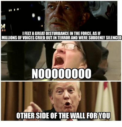Other Side Of The Wall For You: M  I FELT A GREAT DISTURBANCE IN THE FORCE, AS IF  MILLIONS OF VOICES CRIED OUT IN TERROR AND WERE SUDDENLY SILENCED  OTHER SIDE OF THE WALL FOR YOU