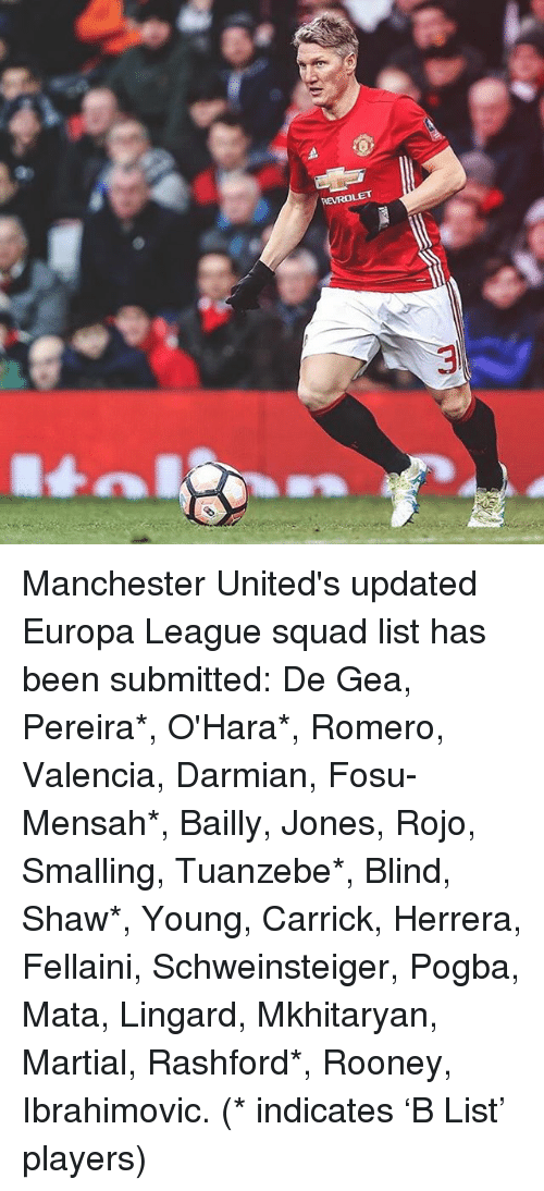 Memes, 🤖, and Europa League: m Manchester United's updated Europa League squad list has been submitted: De Gea, Pereira*, O'Hara*, Romero, Valencia, Darmian, Fosu-Mensah*, Bailly, Jones, Rojo, Smalling, Tuanzebe*, Blind, Shaw*, Young, Carrick, Herrera, Fellaini, Schweinsteiger, Pogba, Mata, Lingard, Mkhitaryan, Martial, Rashford*, Rooney, Ibrahimovic. (* indicates 'B List' players)