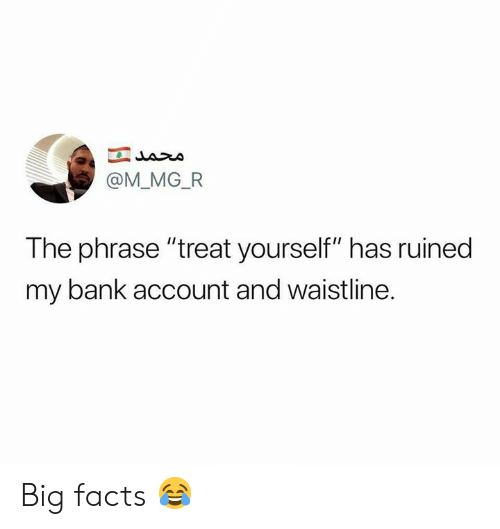"""Treat Yourself: @M_MG_FR  The phrase """"treat yourself"""" has ruined  my bank account and waistline. Big facts 😂"""