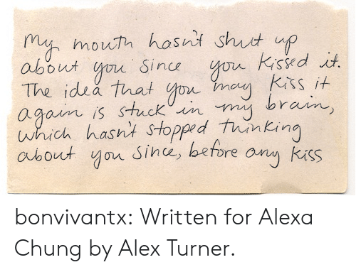 Turners: m mouh hosni shut up  about o Sin  The idsa that o  agoim is stuck iin  which hasnt Stopped tunkin  aubout yor Since, before any kuss  sit S bonvivantx: Written for Alexa Chung by Alex Turner.